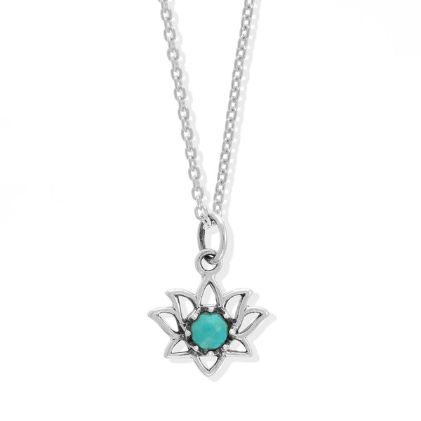 Boma New Necklaces Sterling Silver with Turquoise Lotus Flower Sterling Silver Necklace with Stone Pendant