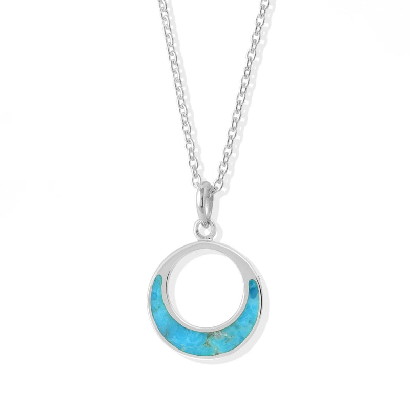 Open Circle  Sterling Silver Pendant With Turquoise Stone