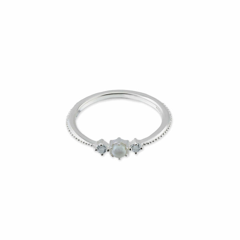 Gemma Sterling Silver Ring with pearl stone