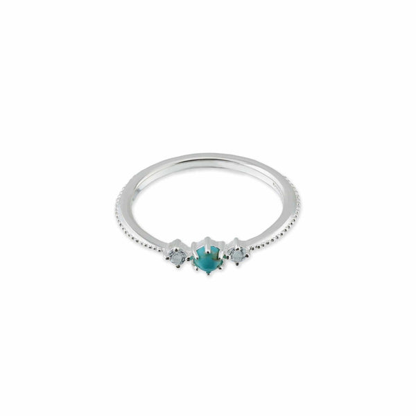 Gemma Sterling Silver Ring with Turquoise stone