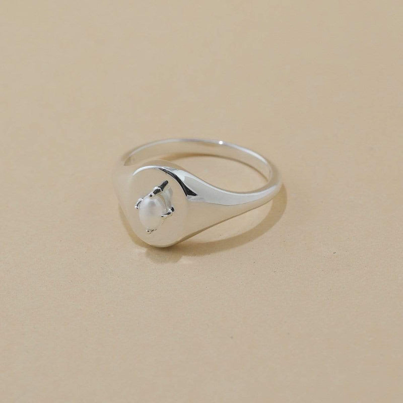 boma new Sterling silver  ring pearl signet ring