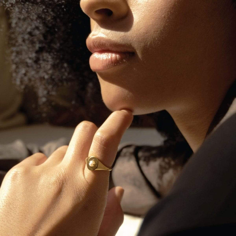 boma new 14k gold vermeil ring pearl signet ring