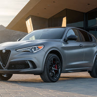 Exterior shot of the Alfa Romeo Stelvio Quadrifoglio NRING on the street