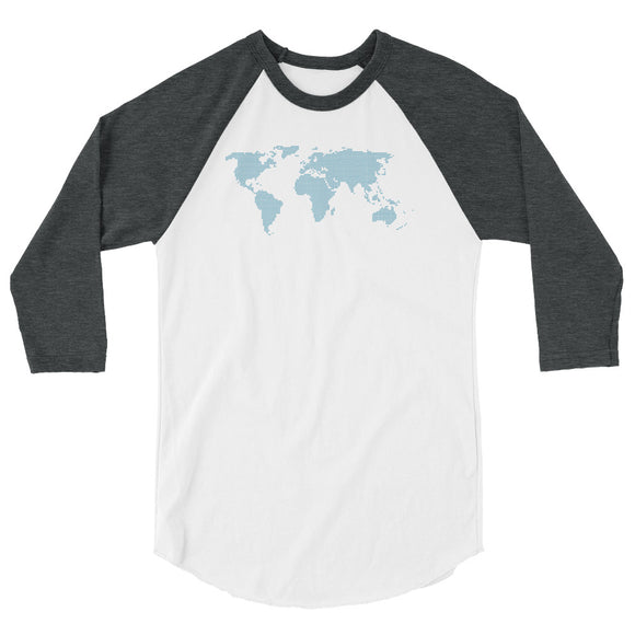 Map of the world - 3/4 sleeve raglan shirt