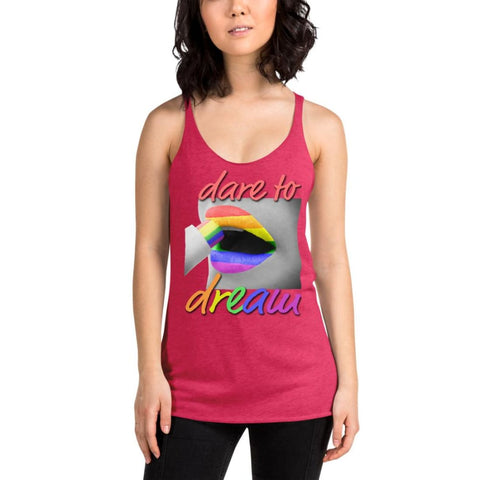 Image of Dare To Dream Rainbow Lips - Womens Racerback Tank - Vintage Shocking Pink / XS