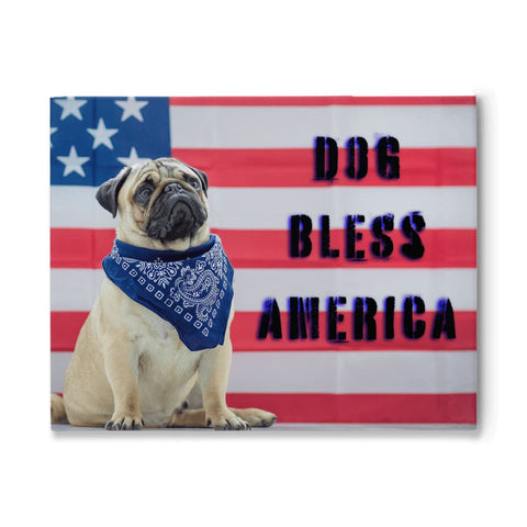 Image of DOG BLESS AMERICA Pug Dog USA Flag Canvas - Wall Art / Wall Decor / Home Decor / Canvas Art - 11x14 inch - Animals