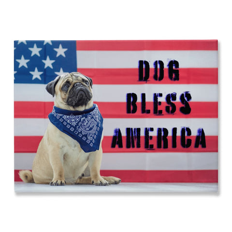 Image of DOG BLESS AMERICA Pug Dog USA Flag Canvas - Wall Art / Wall Decor / Home Decor / Canvas Art - 18x24 inch - Animals