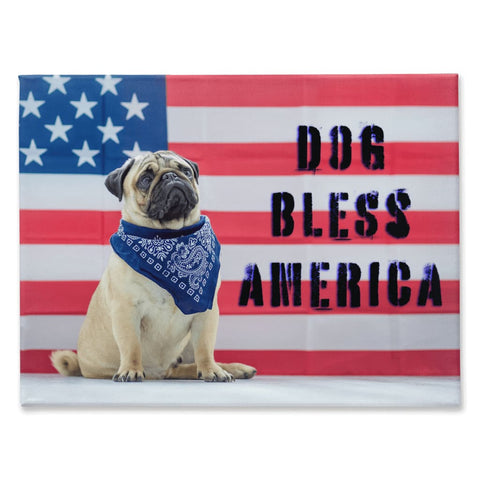 Image of DOG BLESS AMERICA Pug Dog USA Flag Canvas - Wall Art / Wall Decor / Home Decor / Canvas Art - 30x40 inch - Animals