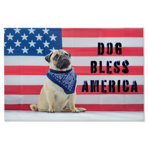 Image of DOG BLESS AMERICA Pug Dog USA Flag Canvas - Wall Art / Wall Decor / Home Decor / Canvas Art - 40x60 inch - Animals
