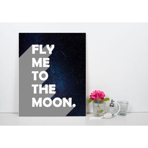 Fly Me To The Moon - Retro Typography Space Pop Art - Canvas Wrap - 11x14 inch