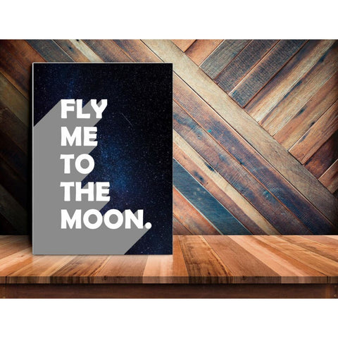 Fly Me To The Moon - Retro Typography Space Pop Art - Canvas Wrap - 18x24 inch