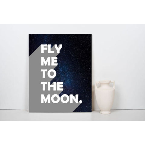 Fly Me To The Moon - Retro Typography Space Pop Art - Canvas Wrap - 30x40 inch