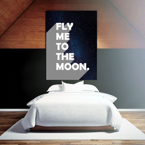 Fly Me To The Moon - Retro Typography Space Pop Art - Canvas Wrap - 32x48 inch