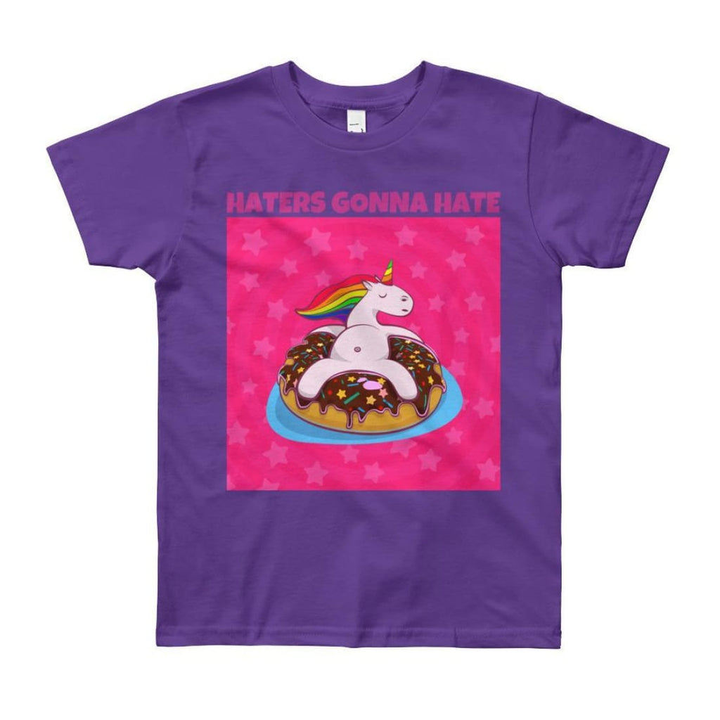 Haters Gonna Hate - Unicorn On Donut - Girls Tee T-Shirt - 8 to 12 Years - Purple / 8yrs