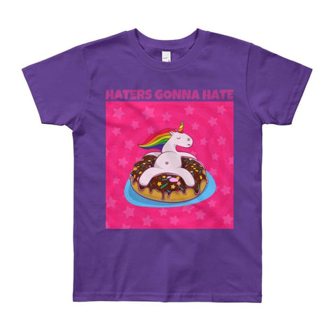 Image of Haters Gonna Hate - Unicorn On Donut - Girls Tee T-Shirt - 8 to 12 Years - Purple / 8yrs
