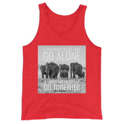 Image of If You Want To Go Far Go Alone If You Want To Go Far Go Together - Mens Tank Top - Red Triblend / XS