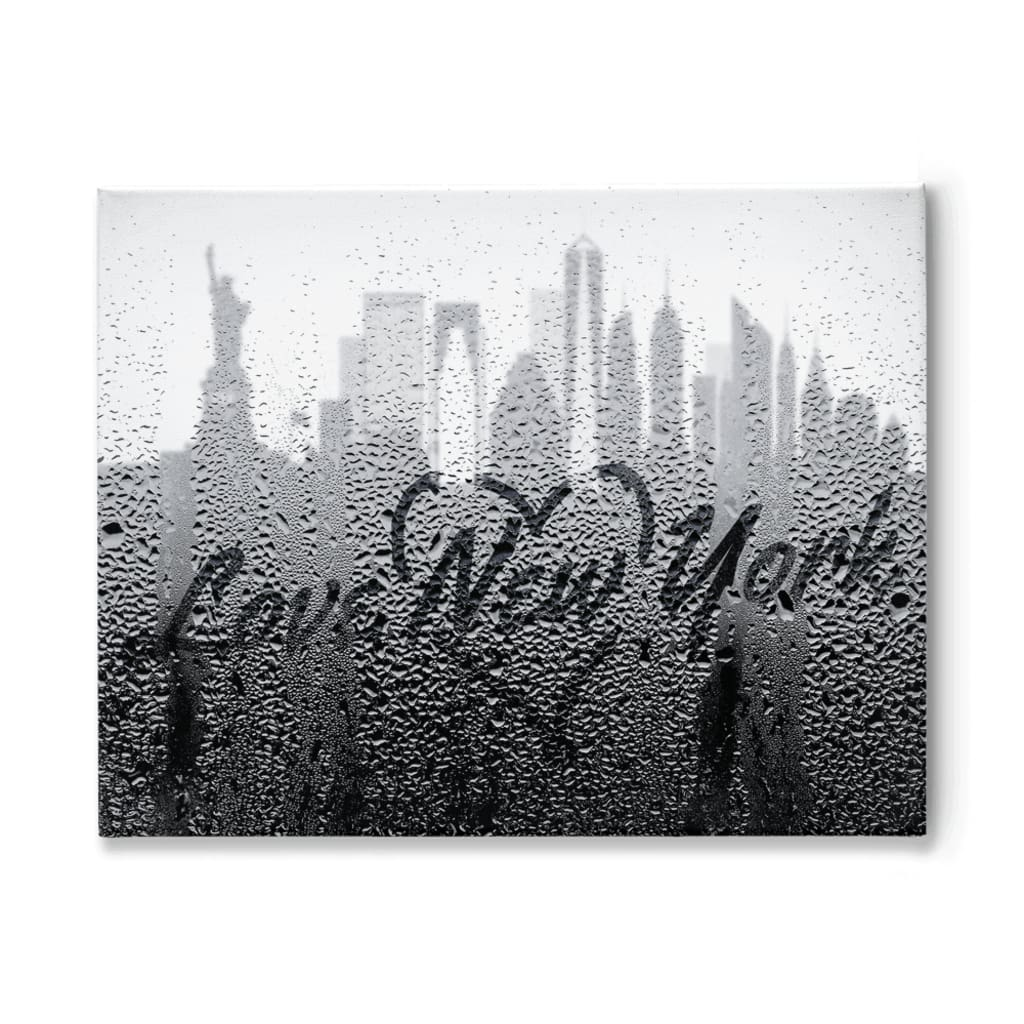 Love New York Rainy Window Writing Heart - Cityscape Skyline Statue of Liberty Manhattan NY USA - 11x14 inch