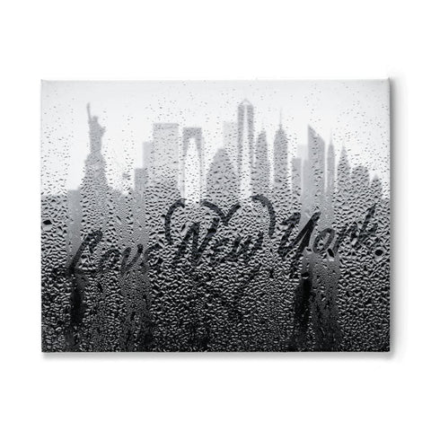 Image of Love New York Rainy Window Writing Heart - Cityscape Skyline Statue of Liberty Manhattan NY USA - 11x14 inch
