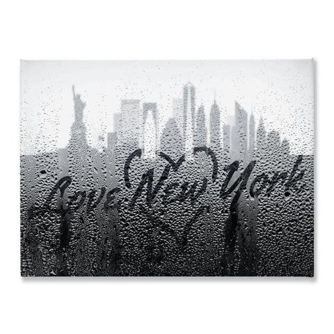 Image of Love New York Rainy Window Writing Heart - Cityscape Skyline Statue of Liberty Manhattan NY USA - 18x24 inch