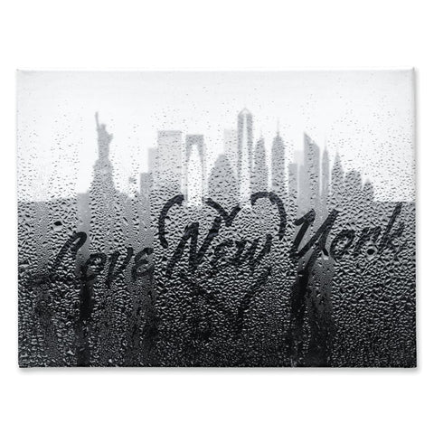 Image of Love New York Rainy Window Writing Heart - Cityscape Skyline Statue of Liberty Manhattan NY USA - 30x40 inch