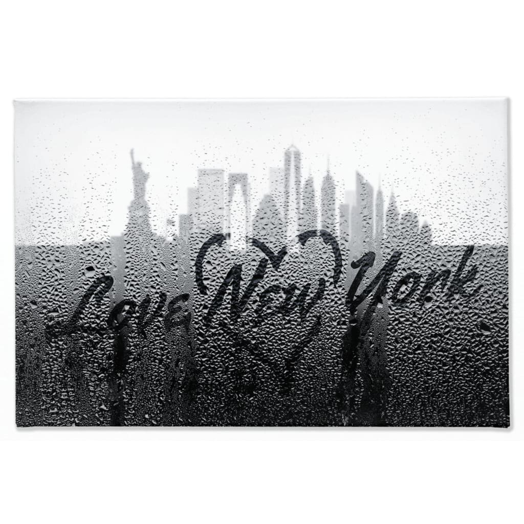 Love New York Rainy Window Writing Heart - Cityscape Skyline Statue of Liberty Manhattan NY USA - 40x60 inch
