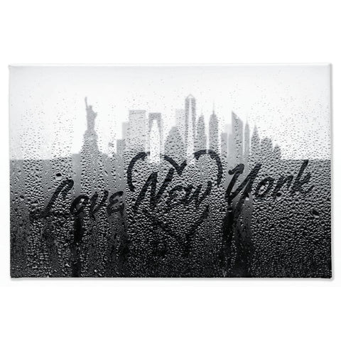 Image of Love New York Rainy Window Writing Heart - Cityscape Skyline Statue of Liberty Manhattan NY USA - 40x60 inch