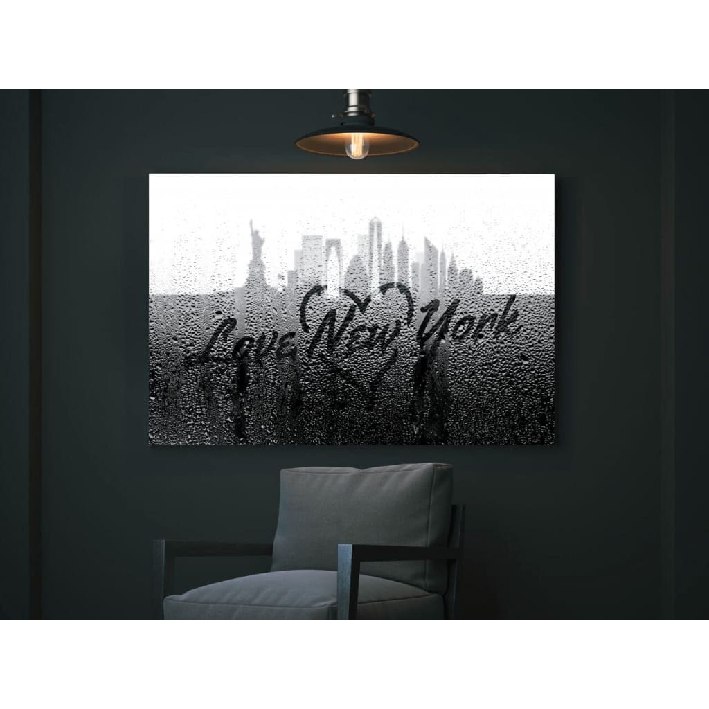 Love New York Rainy Window Writing Heart - Cityscape Skyline Statue of Liberty Manhattan NY USA
