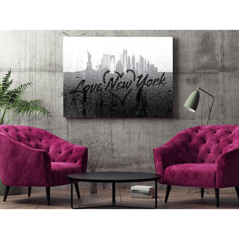 Image of Love New York Rainy Window Writing Heart - Cityscape Skyline Statue of Liberty Manhattan NY USA