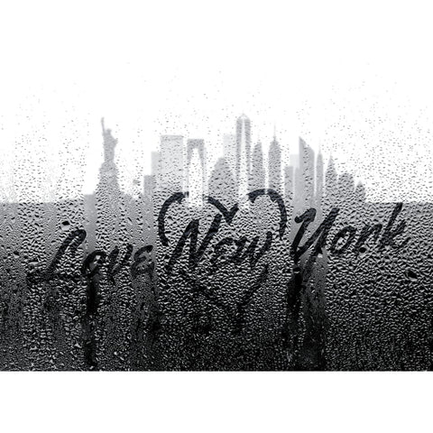 Image of Love New York Through Rainy Window - Professional Photo Print - 5x7 inch
