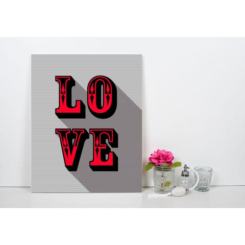 LOVE - Red - Retro Love Typography Pop Art - Canvas Wrap - 11x14 inch