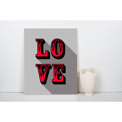 LOVE - Red - Retro Love Typography Pop Art - Canvas Wrap - 18x24 inch