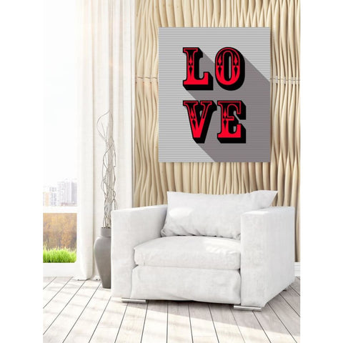 LOVE - Red - Retro Love Typography Pop Art - Canvas Wrap - 30x40 inch