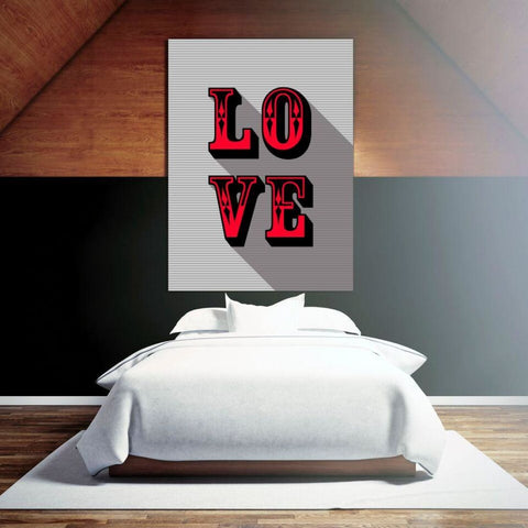 LOVE - Red - Retro Love Typography Pop Art - Canvas Wrap - 32x48 inch
