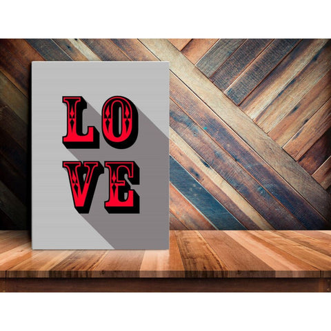 LOVE - Red - Retro Love Typography Pop Art - Canvas Wrap