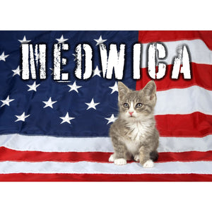 MEOWICA Cute Kitten USA Flag Cat - Professional Photo Print - 5x7 inch