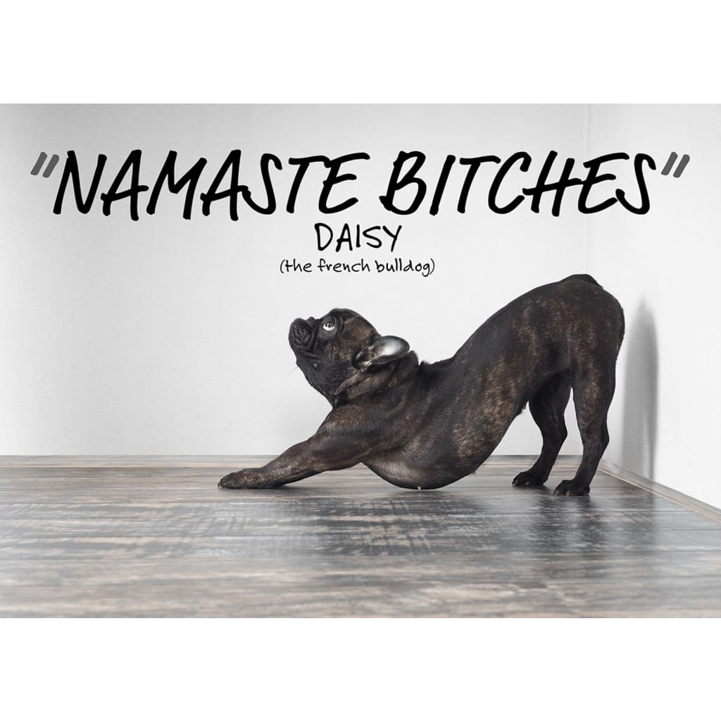 Namaste Bitches - Lazy Yoga Dog Downward Dog - Professional Photo Print - 5x7 inch