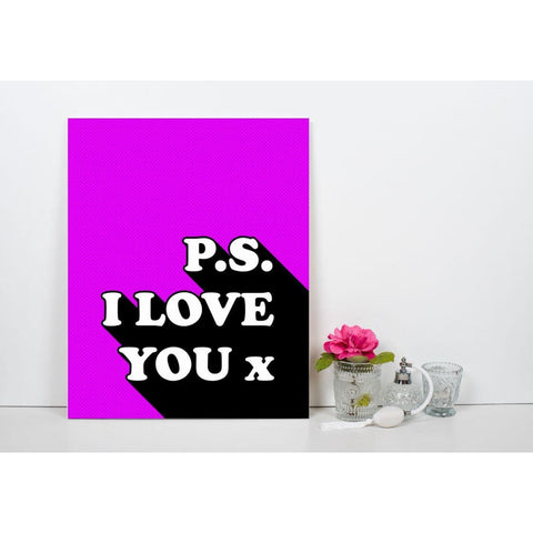 P.s I Love You x - Retro Love Typography Pop Art - Canvas Wrap - 11x14 inch