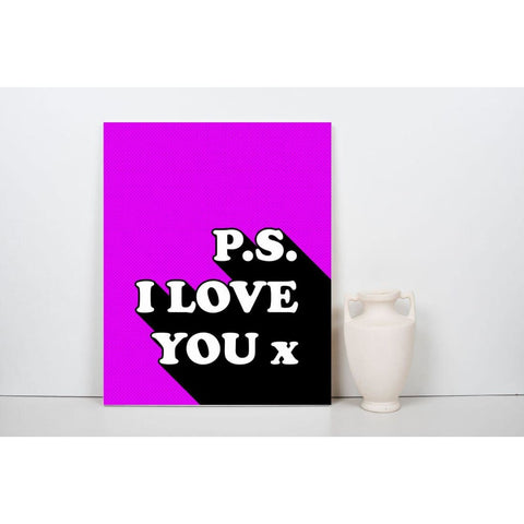 P.s I Love You x - Retro Love Typography Pop Art - Canvas Wrap - 18x24 inch