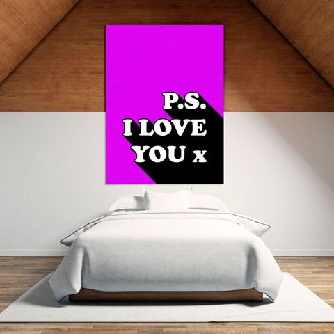 P.s I Love You x - Retro Love Typography Pop Art - Canvas Wrap - 32x48 inch