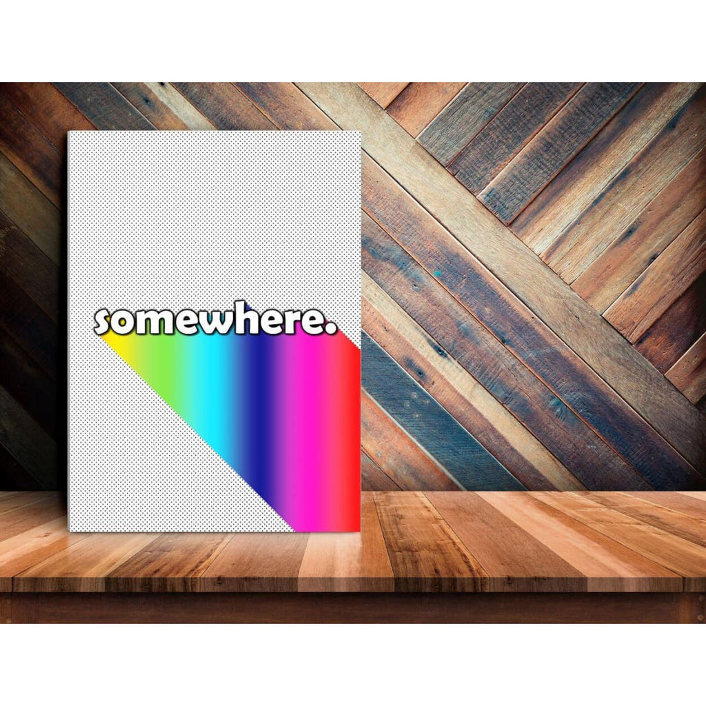 Somewhere - Over The Rainbow - Typography Wall Art - Canvas Wrap - 11x14 inch