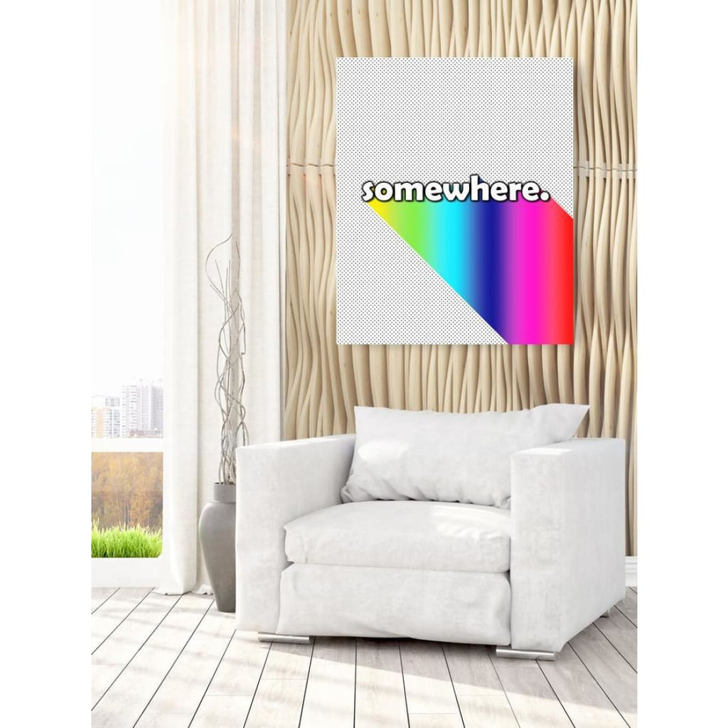 Somewhere - Over The Rainbow - Typography Wall Art - Canvas Wrap - 30x40 inch