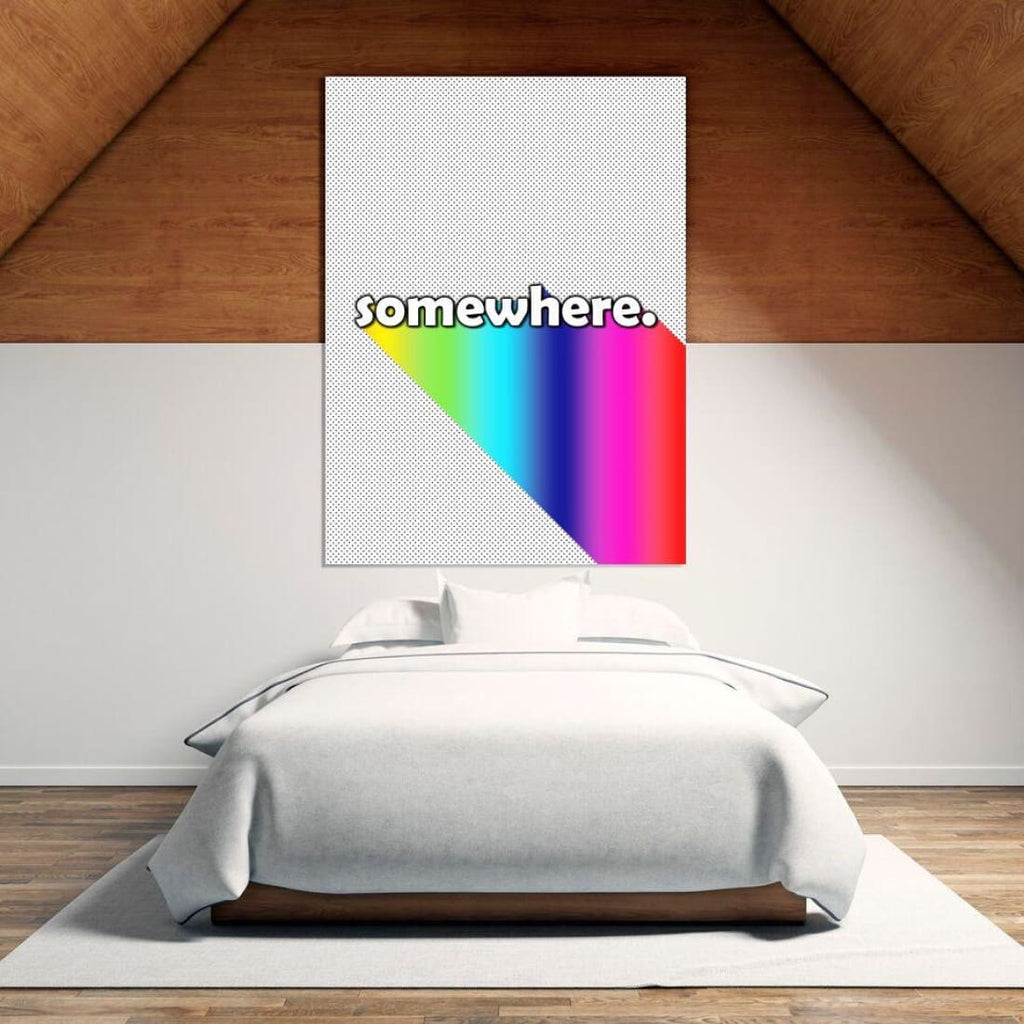 Somewhere - Over The Rainbow - Typography Wall Art - Canvas Wrap - 32x48 inch