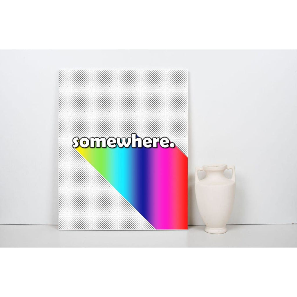 Somewhere - Over The Rainbow - Typography Wall Art - Canvas Wrap