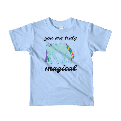 Image of You Are Truly Magical - Blue Unicorn - Girls Tee T-Shirt - 2 to 6 Years - Baby Blue / 2yrs
