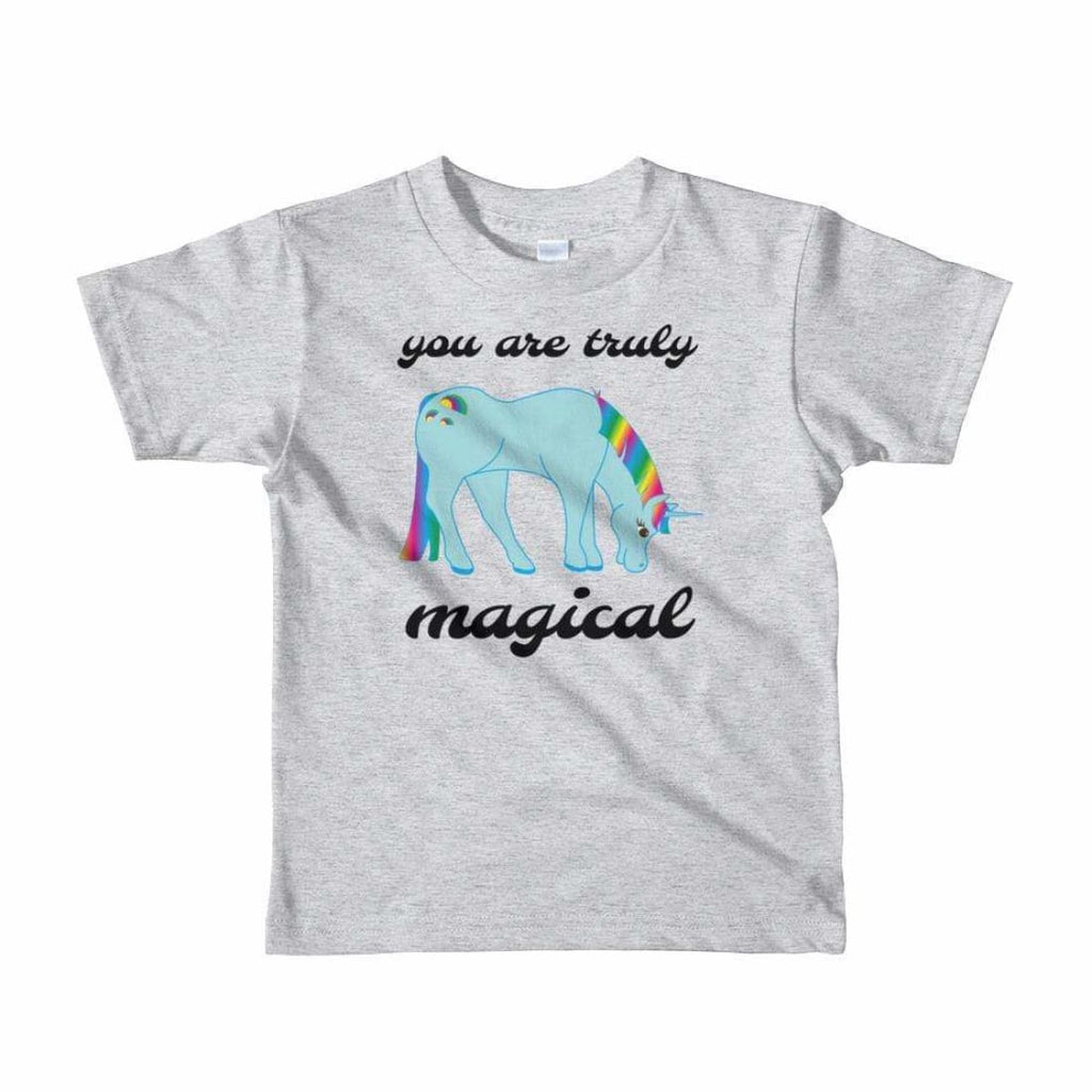 You Are Truly Magical - Blue Unicorn - Girls Tee T-Shirt - 2 to 6 Years - Heather Grey / 2yrs