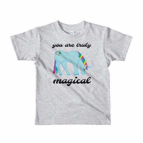 Image of You Are Truly Magical - Blue Unicorn - Girls Tee T-Shirt - 2 to 6 Years - Heather Grey / 2yrs