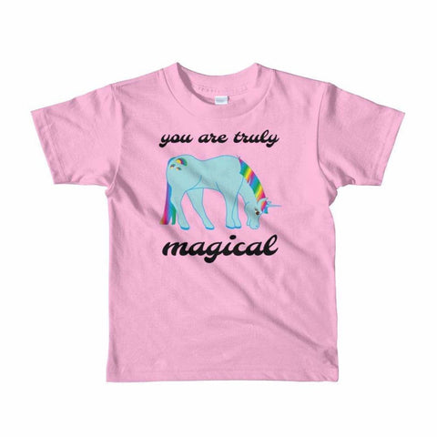 Image of You Are Truly Magical - Blue Unicorn - Girls Tee T-Shirt - 2 to 6 Years - Pink / 2yrs