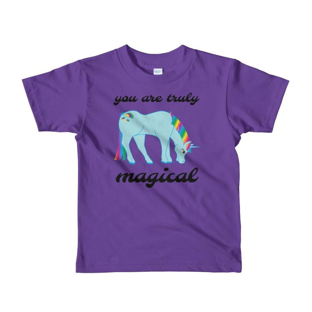 You Are Truly Magical - Blue Unicorn - Girls Tee T-Shirt - 2 to 6 Years - Purple / 2yrs