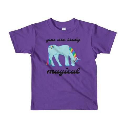 Image of You Are Truly Magical - Blue Unicorn - Girls Tee T-Shirt - 2 to 6 Years - Purple / 2yrs