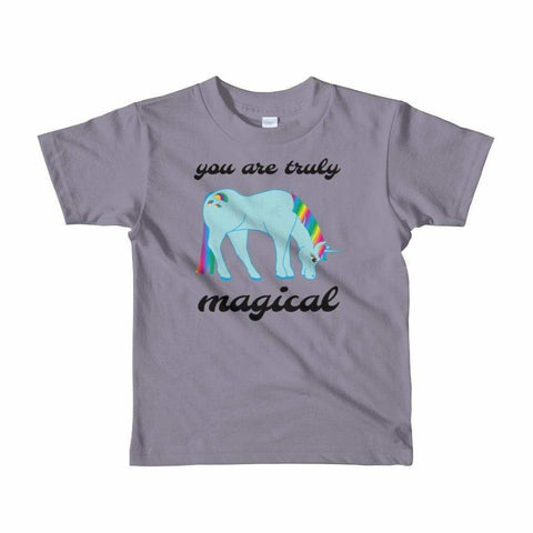 Image of You Are Truly Magical - Blue Unicorn - Girls Tee T-Shirt - 2 to 6 Years - Slate / 2yrs